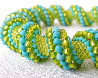 Going Green Cellini Spiral Beadwoven Bangle Bracelet