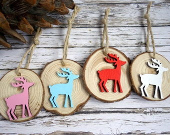 Wood slice Christmas decorations / colourful reindeer ornaments. Set of 4. Red, white, pink, blue.