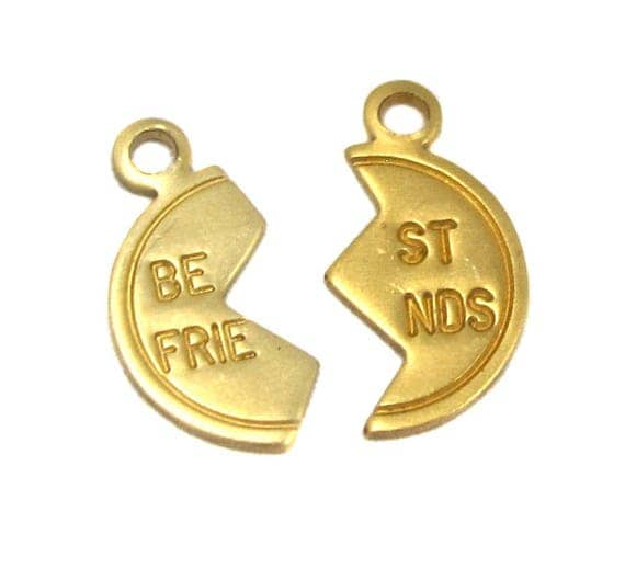 Tiny Raw Brass Best Friends Charms (16X) (M672-A)