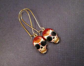 Skull Earrings, Day of the Dead Sugar Skulls, Gold Dangle Earrings, FREE Shipping U.S.