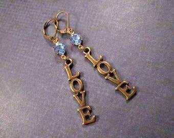 LOVE Earrings, Blue Glass Rhinestones and Brass Dangle Earrings, FREE Shipping U.S.