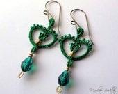 Lace earrings green heart tatting with Swarovski crystal teardrop hypoallergenic niobium earwires