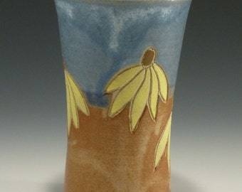 Tumbler - Coneflower Glass - Coneflower Tumbler - Vase