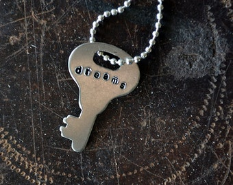 Miniature Key of Dreams - Inspiration Key - Mantra Key - Vintage Key Necklace - Dreamer - Hand-stamped Key - Leather or Chain Necklace