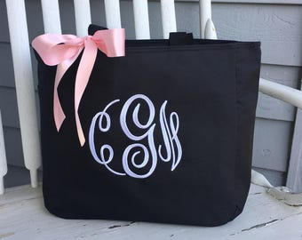 Bride Tote Bag Bridesmaid Maid of Honor Mother of the Bride Monogrammed Embroidered Personalized Coral Bridal Party Gifts Navy blue grey