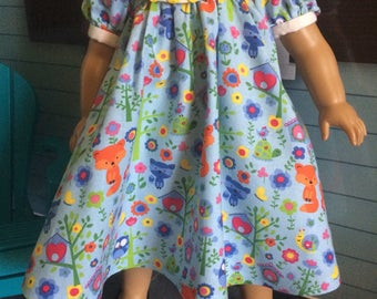 18 inch doll clothes- Blue Wildlife PEACE Party Dress