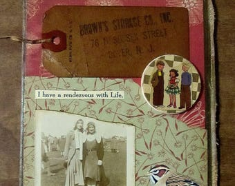 Original collage art vintage photo on book cover....Rendezvous with Life