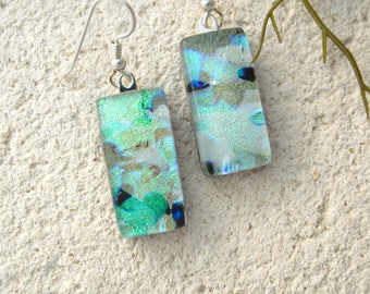 Dichroic Jewelry, White Green Blue Earrings, Dichroic Glass Earring, One of a Kind, Fused Glass Jewelry, Sterling Silver Earrings, 42916e104