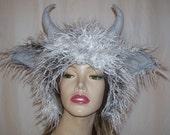 Furry Goat Hat Horn Curly Fur Hat Wild Thing Monster Fur Hat Birthday Sheep OOAK Gray White Mardi Gras Ram Head Piece Adult Unisex Gift Hat