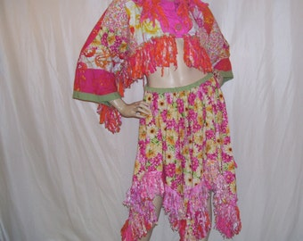 Hippie Pixie Skirt w Bolero Hippie Patchwork Fringe Shrug Skirt Cotton Batik Orange Pink Daisy Spring Easter Fairy Hem Costume Adult Size