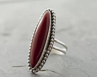 Rosarita Ring. Talon Ring. Custom Size Ring. Gemstone Ring. Red Gemstone. Rosarita Cabochon. Blood Red Stone Ring. Marquis Ring