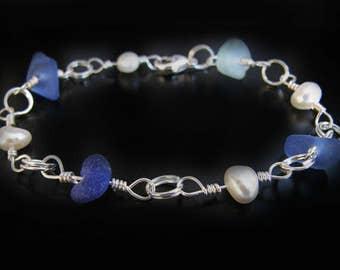 Ocean Blues & Pearls Sea Glass Bracelet, Seaglass in Silver