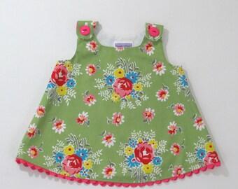 Rose Baby Girls Dress, Girls Dresses, Girls Dress, Baby Dress, Baby Shower Gift, Girls Sundress, Little Girls Dress, Size 3 - 6 Months