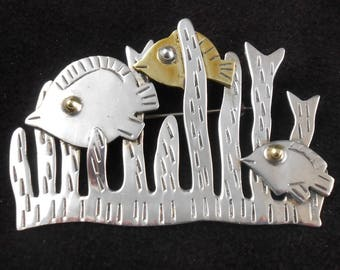 Fish Pin Sterling Swimming Underwater Seaweed Vintage Brooch Taxco Mexico Mixed Metal Brass circa 1960s-70s