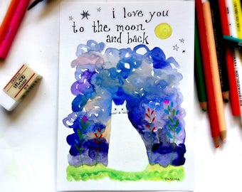 I love you to the moon and back WHITE CAT original painting 5x7 watercolor hand drawn artwork by Tascha