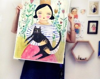 HUGE Original mixed media Queen of Cats painting drawing one of a kind on paper 30x22 inches