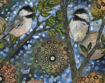 "Archival 6x6 inch Print on Wood ""Night Birds #1"""