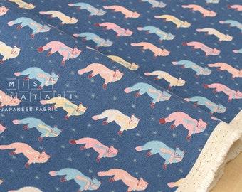 Japanese Fabric Kokka Animal World - chilly fox - blue - 50cm