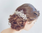 Bridal hair comb - Rhinestone burst and enamel leaf side comb - Style 773 - Ready to Ship