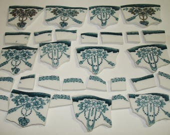 Supplies - Mosaic Tile Pieces -  Focal Pieces- Teal - Gold- Rose Swags Pieces - Broken China Plate -Tessera Tile