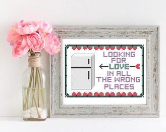 Modern Cross Stitch Pattern Beginner Cross Stitch Pattern - Looking for Love Valentine's Day Cross Stitch Pattern Embroidery Pattern DIY