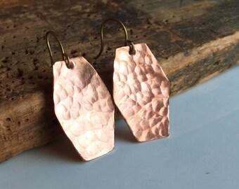Hammered Earrings, Dangle Earrings, Copper Earrings, Metalwork Earrings, Barrell Earrings, Etsy, Etsy Jewelry, Hammered Copper