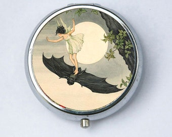 Girl on a Bat Moon Pill case pillbox box holder goth Art Nouveau fairytale