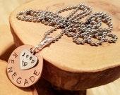 RENEGADE Jeep Legacy in copper hand stamped metal pendant charm necklace  OIIIIIIIO
