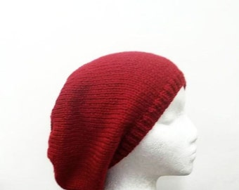 Knit hat red womens hat -beret hat in red white knit hat red hat red beanie red beret womens accessories