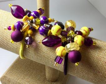 Beaded Softball Hair Elastics in Purple and Golden Yellow ... set of 2
