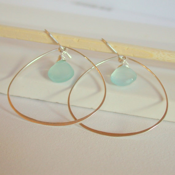 Petal Hoops with Chalcedony. Sterling silver hoops with gemstone.  Blue Chalcedony Hoops. Wire Wrapped Chalcedony.