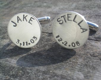 Father's Day Personalized Hand Stamped Sterling Cufflinks by donnaodesigns