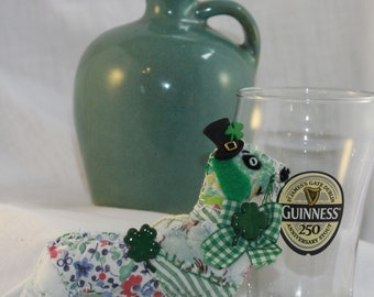 Custom Created -  St Paddy's Day doxie Doggy Quilty Critter - OOAK, Folk Art, Novelty
