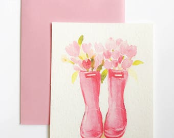Greeting Card - Pink Wellies Rain boots