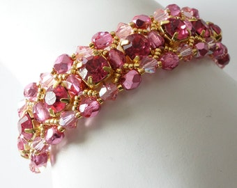 Pink Rhinestone Cuff Bracelet, Rose Pink, Deep Pink, Rhinestones and Crystals, Gold Bracelet, Small Beaded Bracelet, Beaded Jewelry,