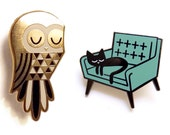 Twit Owl and Cat Nap - Enamel Pin Badges