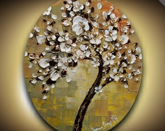 ORIGINAL Tree Painting Abstract White Cherry Blossom Taupe Rust Grey Oval Textured Modern Art by Susanna