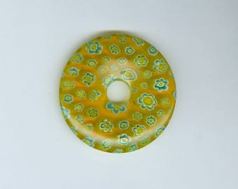 40mm Millefiori Donut 40mm Yellow and Blue Millefiori Glass Pi Donut Focal Pendant Flower Bead 491B
