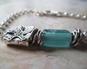 Beach Bracelet, Starfish Bead, Ancient Roman Glass, Aqua Glass, Sterling Silver, candies64