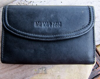 Vintage Kenneth Cole Black Leather Billfold | Ladies Wallet | Black Leather Wallet | Large Change Pocket | Ladies Wallet Under 20 | Unique