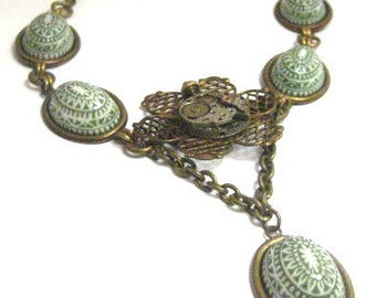 Green web... Vintage Glass Cabochon Filigree wih Ruby Jeweled Watch Movement One of a Kind Necklace
