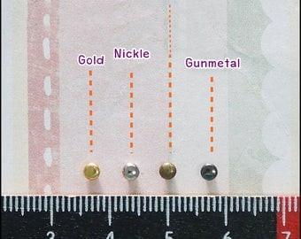 Tiny Metal Rivet Stud 3 mm Round Metal - 100 sets - Antique Brass - Gold - Nickel - Gunmetal Doll Dress /Leather Supplies