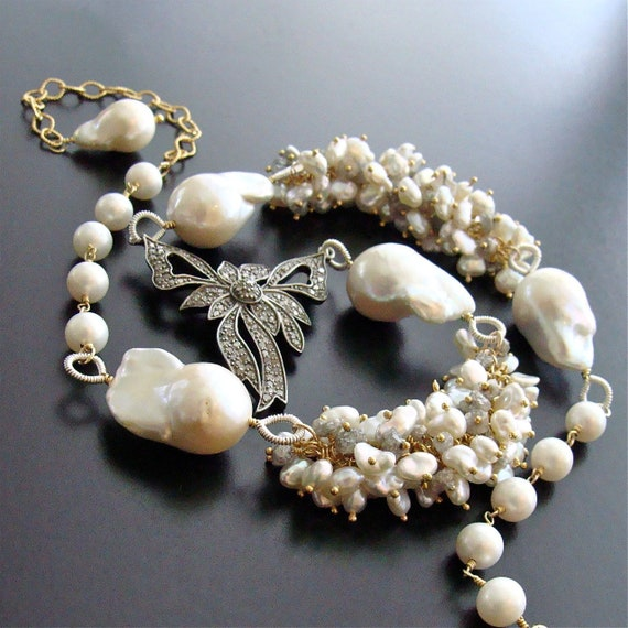 Diamond Bow Necklace Raw Diamonds Keshi & Flameball Pearls - Charmaine Necklace