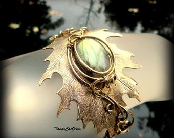 Labradorite  Oak Leaf Bracelet