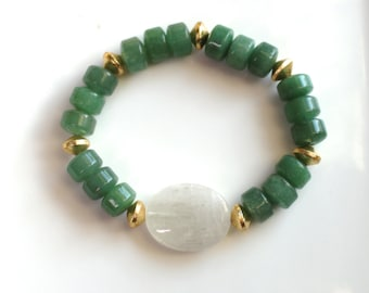 Little Luxe Simple Stacking Stretch Bracelet in Polished Kunzite and Green Jade...