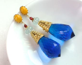Dramatic Electric Blue Topaz, Aquamarine and Agate Post Back Bold Statement Earrings in Gold Vermeil...