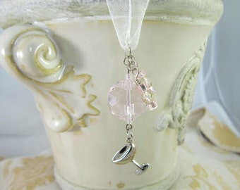 Rearview Mirror Jewelry Charm Car Feng Shui Wine Margarita Glass White Pink