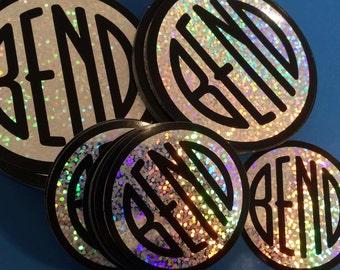 Dazzling Holographic Sparkle Vinyl - Bend Oregon - Round Bumper Sticker Decal