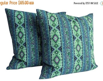 "BIG SALE - Mid-Century Pillow Covers - 1960s Fabric Pillow Covers, Pair - Blue Pattern - 20"" - Midcentury Modern"