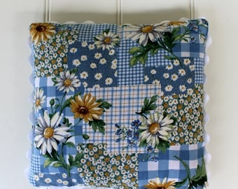 BIG SALE - Vintage Daisy Pillow with Blue Check - Colorful Country Pillow - Big Ric Rac Trim - Accent Pillow